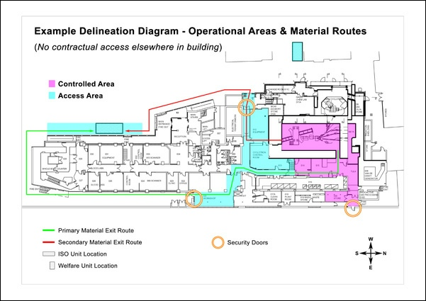 Delineation diagrams access routes controlled areas safety abbott designs take existing building plans and superimpose colour coded graphics to denote different working areas ppe requirements and access routes maxwellsz